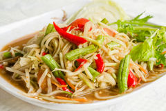 Thai food hot and spicy papaya salad. Somtam Thai food hot and spicy papaya salad Stock Photography