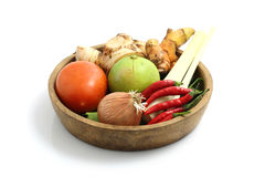 Thai food ingredient for Tom yum kung. In white backgrou stock photography