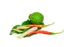 Thai food ingredient for Tom yum kung. Isolated in white Stock Photo