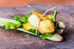 Thai food ingredient for Tom yum on wood background Stock Images