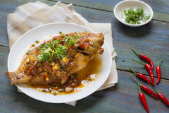Thai Food : Ingredients of  Fish fried with Chili Sweet Sauce Stock Photo