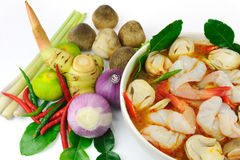 Thai food ingredients and shrimp Royalty Free Stock Image
