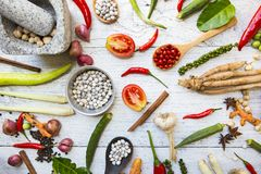 Thai food ingredients, vegetable and spicy taste. Thai food and healthy concept, top view Stock Photos