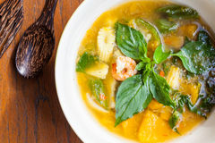 Thai food, Kang liang, Shrimp mushhroom and vegetable Stock Photos
