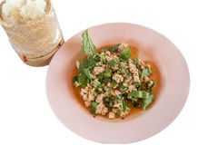 Thai food; Lab-Moo; Chopped pork mix with Thai spicy curry Royalty Free Stock Photography