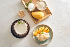 Thai food, Mango with Sticky Rice with all ingredients.  stock photography