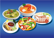 Thai food. Many type of Thai food on blue  background Stock Photo