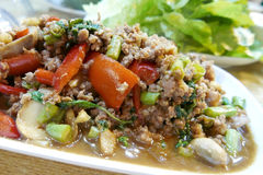 Thai food meat, vegetable and the soup in Asian resturant Royalty Free Stock Photos