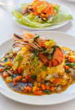 Thai food melet with prawn in black pepper sauce. Stock Image