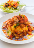 Thai food melet with prawn in spicy sour sauce. Royalty Free Stock Photography