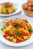 Thai food melet with prawn in sweet and sour sauce. Royalty Free Stock Photos