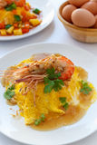 Thai food melet with prawn in sweet tamarind sauce. Royalty Free Stock Images
