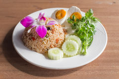 Thai food. Menu is Fried Rice in a Boat. or Kao Pat Nam Pik Long Reu royalty free stock image