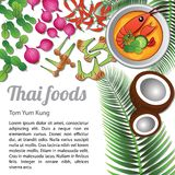 Thai Food Menu Tom Yam Kung. Thai delicious and famous food.river prawn spicy soup tom yum kung and ingredient with  white background, illustration Royalty Free Stock Images