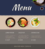 Thai food menu vector template design. Thai food menu template design. Price and buy, shrimp and cuisine, breakfast seafood, vector illustration Royalty Free Stock Photo