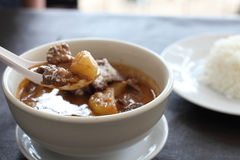 Thai food mussaman curry with rice Royalty Free Stock Photo