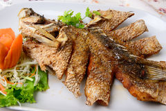 Thai Food name Deep Fried Snapper with Sweet Fish Sauce Stock Image