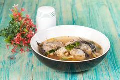 Thai food name is Fish Tomyam ,Sneck head fish Royalty Free Stock Photo