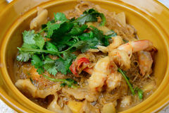 Thai food name is Shrimp baked with vermicelli Stock Image
