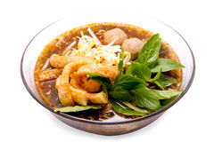 Thai food.noodle soup with pork ball. Royalty Free Stock Photo