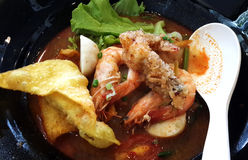 Thai food , Noodles in Sour and spicy shrimp soup Stock Image