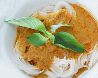 Thai food Noodles. Thai style with basil royalty free stock photography