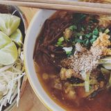 Thai food. Northen style noodle called nam ngiew Royalty Free Stock Image