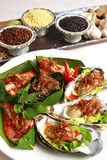 Thai food, oyster and shrimp. Thailand food, Spicy oyster and shrimp. Spices are out of focus Stock Photos
