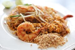 Thai food pad thai fried noodle with shrimp. On a plate royalty free stock photos
