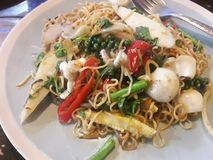 Thai food PAD KI- MAO royalty free stock photos