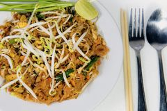 Stir fry noodles in pad thai style Stock Photos