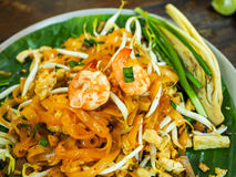 Thai food Pad thai  is fried with shrimp Thailand style original. Banana leaf bottom groove Royalty Free Stock Photo