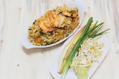 Thai food Pad thai is fried with shrimp Thailand style. Royalty Free Stock Photos