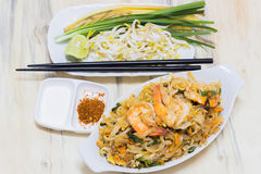 Thai food Pad thai is fried with shrimp Thailand style. Stock Photo