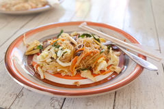 Thai food, pad thai, noodles with vegetables and mea Royalty Free Stock Photography