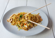 Thai food, pad thai, noodles with vegetables and mea Stock Photo