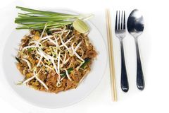 Stir fry noodles in pad thai style royalty free stock photo