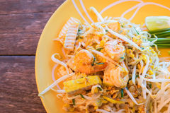 Thai food Pad thai. Stir fry noodles with shrimp Royalty Free Stock Image