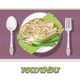 Thai food Pad thai , Stir fry noodles with shrimp on banana leaf Stock Image