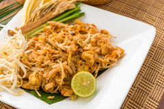Thai food Pad thai , stir fry noodles with shrimp & x28;chinese& x29;,adju Stock Photos
