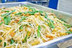 Thai food Pad thai , Stir fry noodles with shrimp and omelet Royalty Free Stock Photo