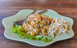 Thai food Pad thai , Stir fry noodles with shrimp in padthai sty Royalty Free Stock Photos