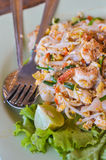 Thai food Pad thai , Stir fry noodles with shrimp in padthai sty Stock Photos