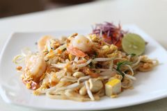 Thai food padthai. On a plate in close up royalty free stock photos