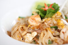 Thai food padthai fried noodle with shrimp Royalty Free Stock Photo