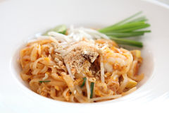 Thai food padthai fried noodle with shrimp Stock Photo