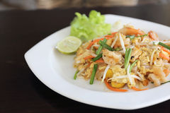 Thai food padthai fried noodle with shrimp Stock Image