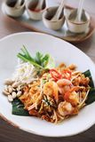 Thai food padthai fried noodle with shrimp , local food. Thai food padthai fried noodle with shrimp on a plate , local food royalty free stock images