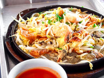 Thai food, pancake with mussel Stock Photo