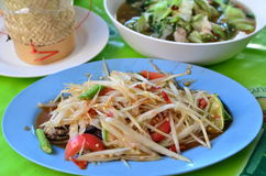 Thai food papaya salad.  stock photos